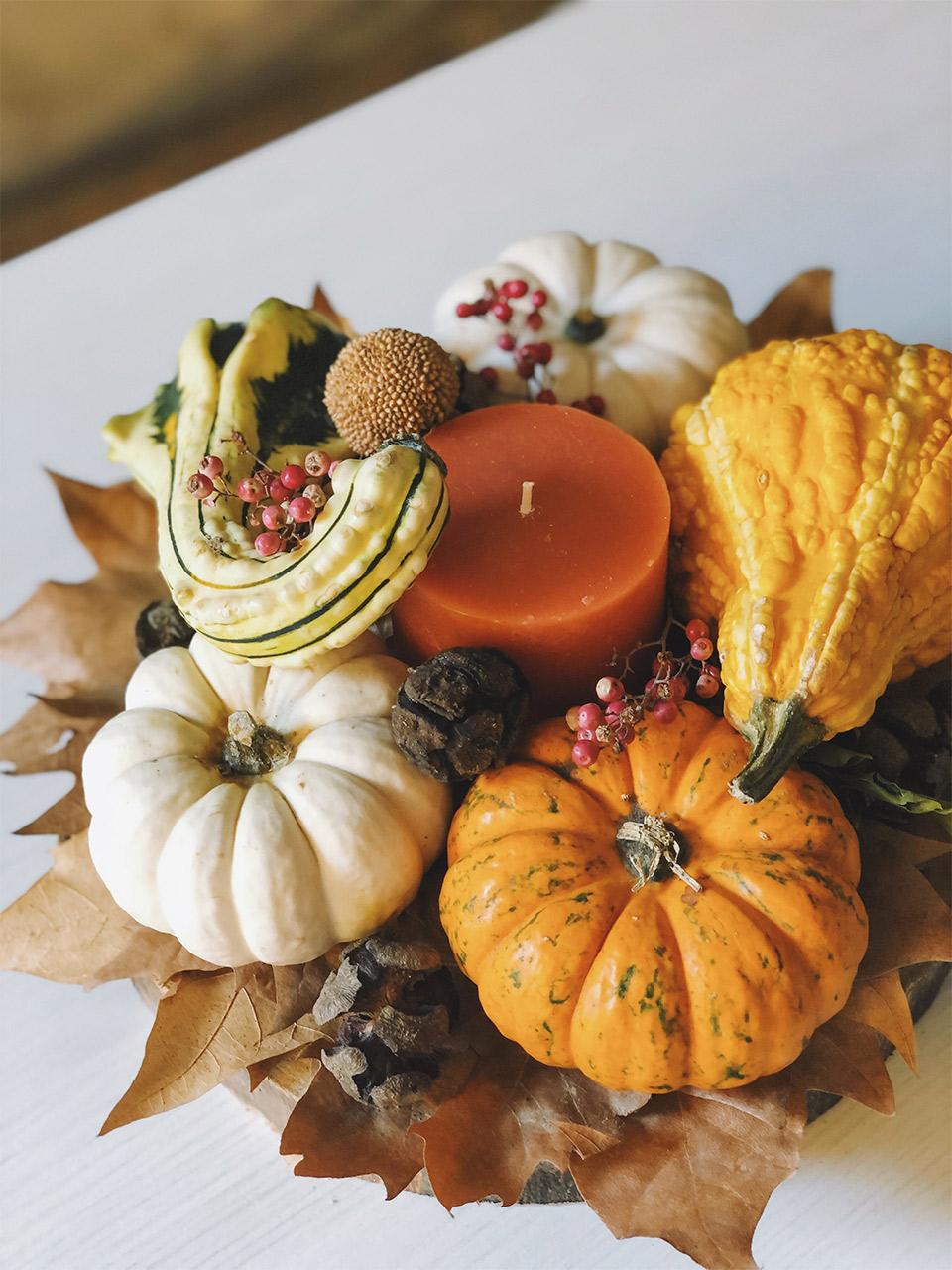 DIY decoracion de otoño con calabazas