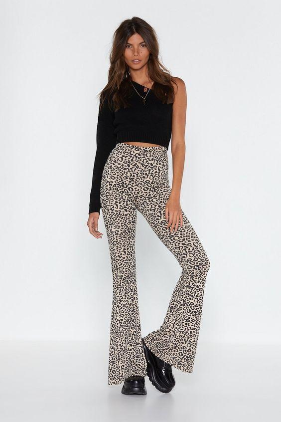 leopard flare pants